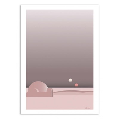 Wall Editions - Tatooine - Affiche 50 x 70 cm - rose
