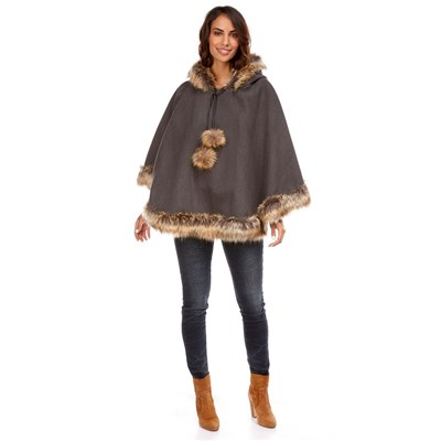 MADE IN ITALY Poncho - anthracite