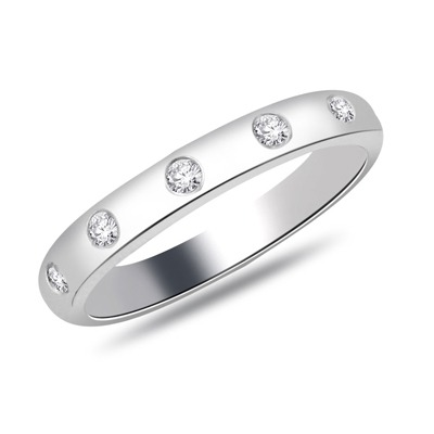 Carashop Alliance en or blanc et diamants ronds - argenté