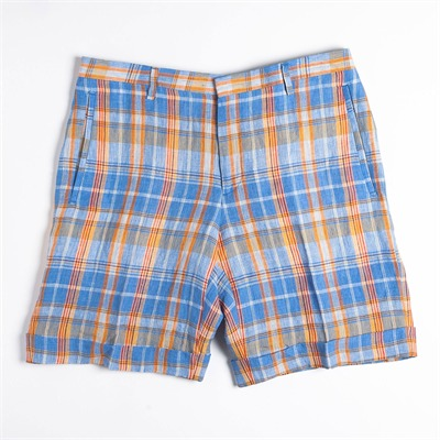 Ferragamo Short à carreaux en lin bleu et orange - bleu