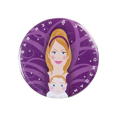 Mlle and Her Baby - Miroir de poche - violet