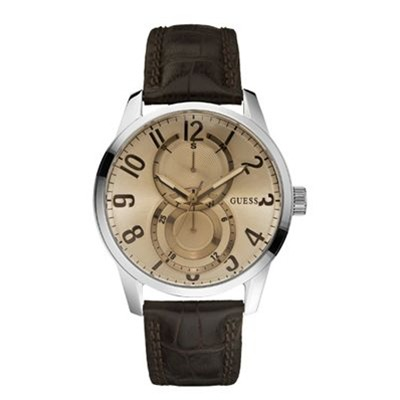 GUESS Montre bracelet cuir marron