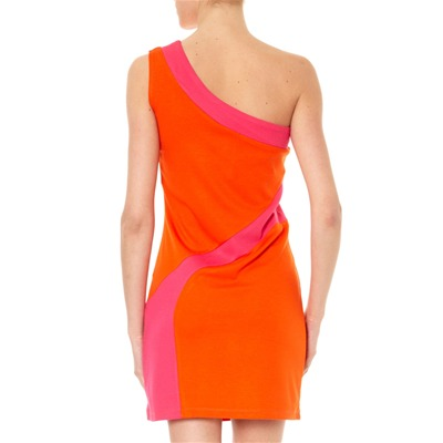 TORRENTE Robe asymétrique color block orange et fuschia - orange