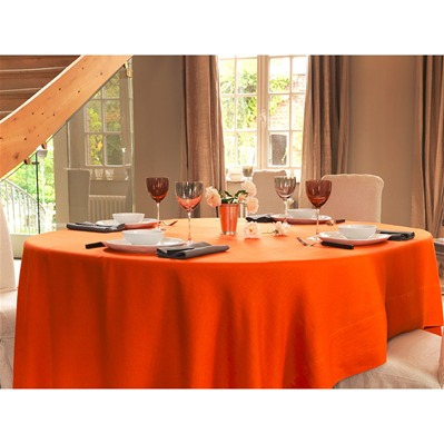 Délices de Lin - Nappe brodée en lin orange