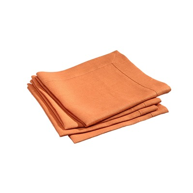 Délices de Lin - Lot de serviettes de table brodées en lin orange 45x45cm - orange