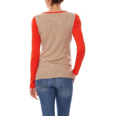 Pull - col rond taupe et orange