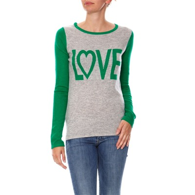 Pull - col rond gris et vert